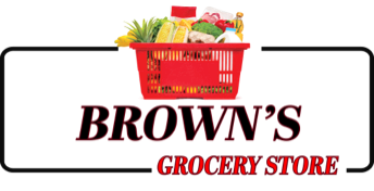 A logo of Brown's Grocery Store